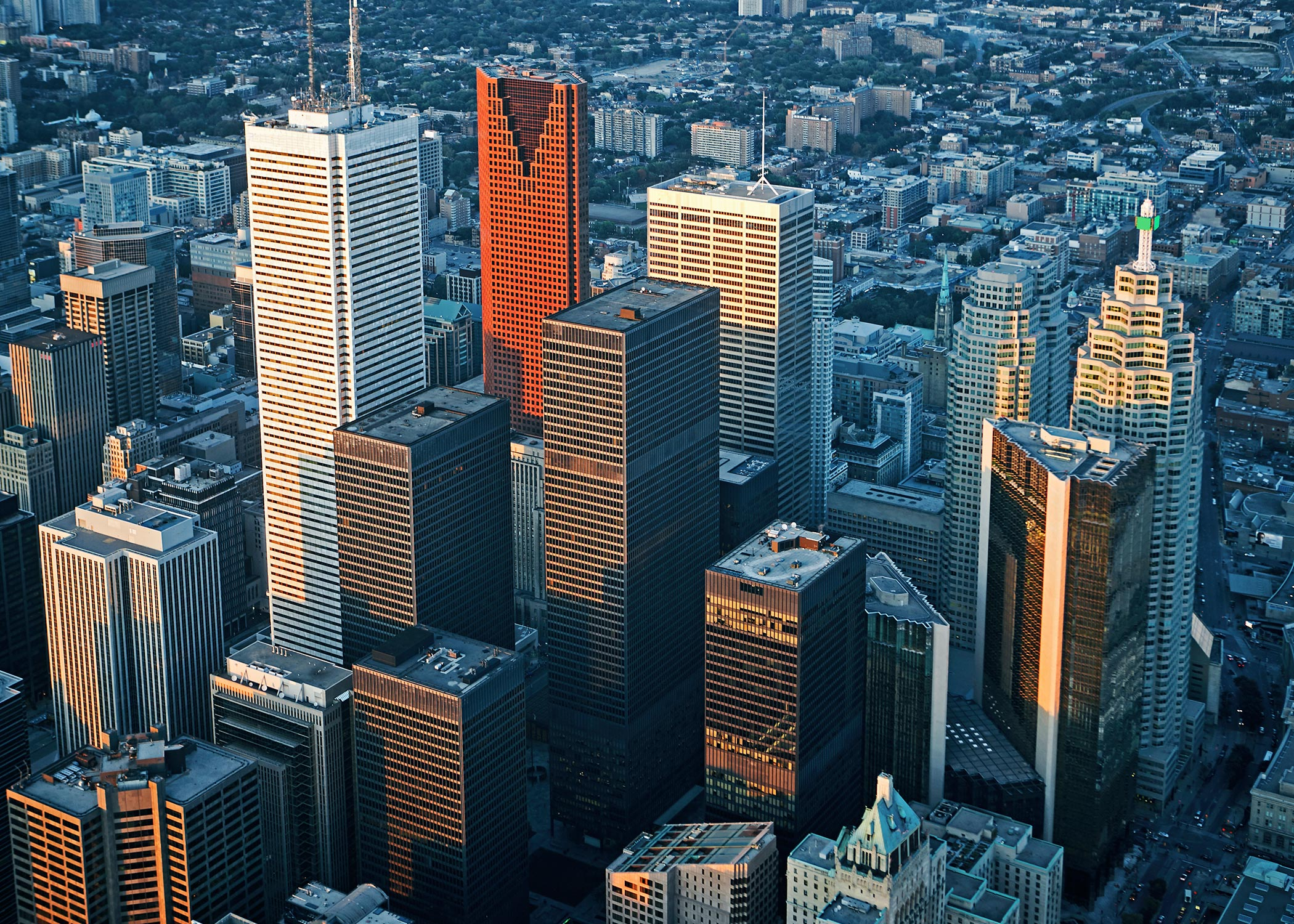aerial view of tall business skyscrapers in downtown toronto